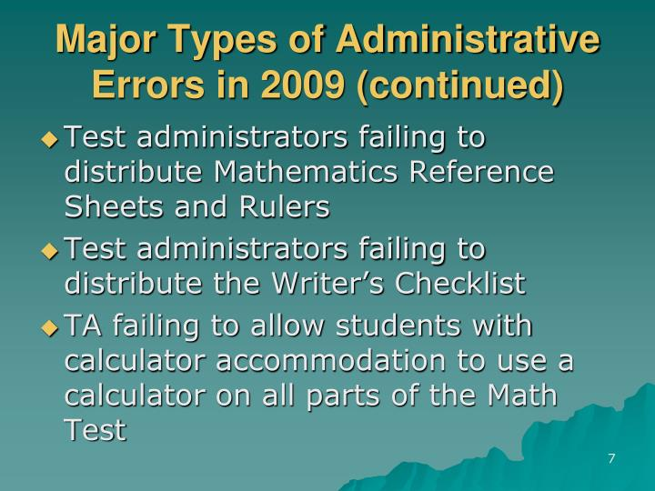 Major Types of Administrative Errors in 2009 (continued)