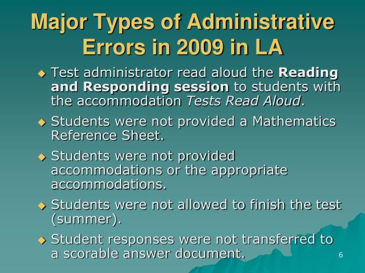 Major Types of Administrative Errors in 2009 in LA