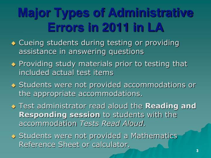 Major types of administrative errors in 2011 in la