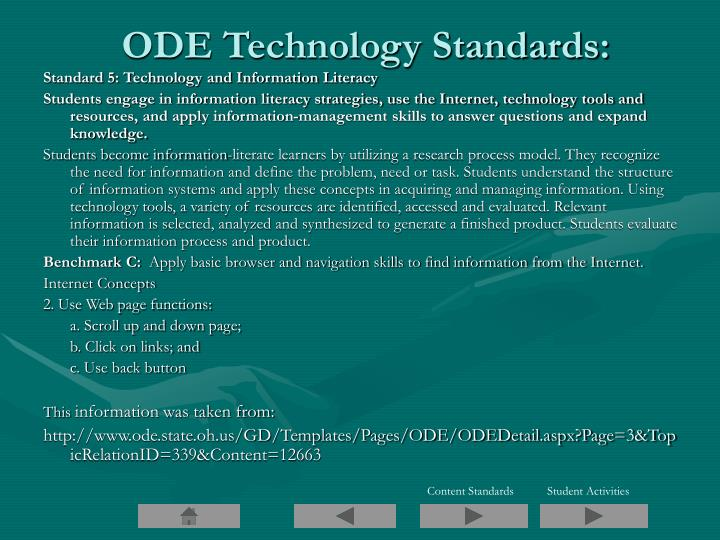 ODE Technology Standards: