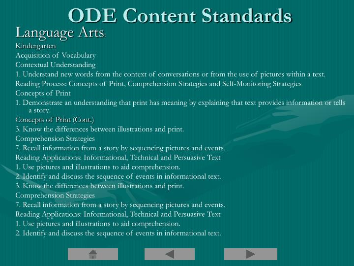 ODE Content Standards