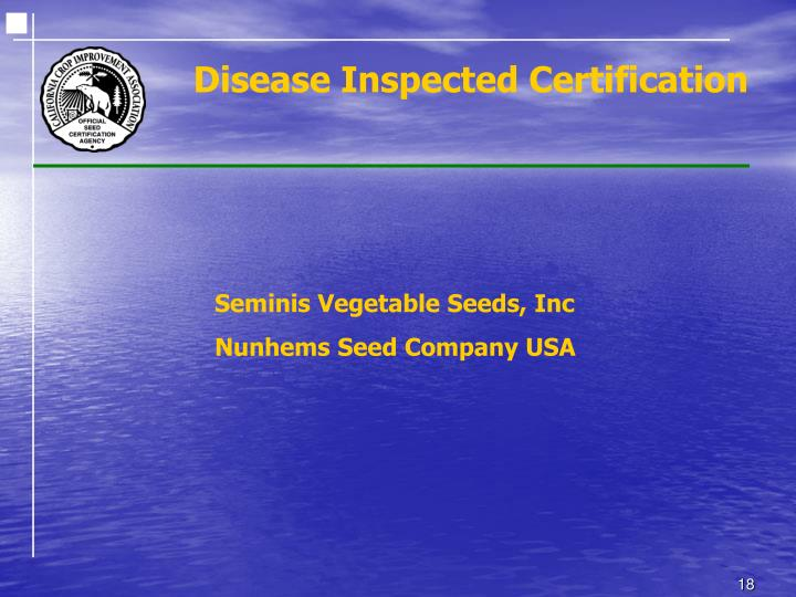 Disease Inspected Certification