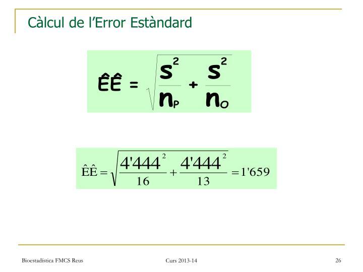 Càlcul de l'Error Estàndard
