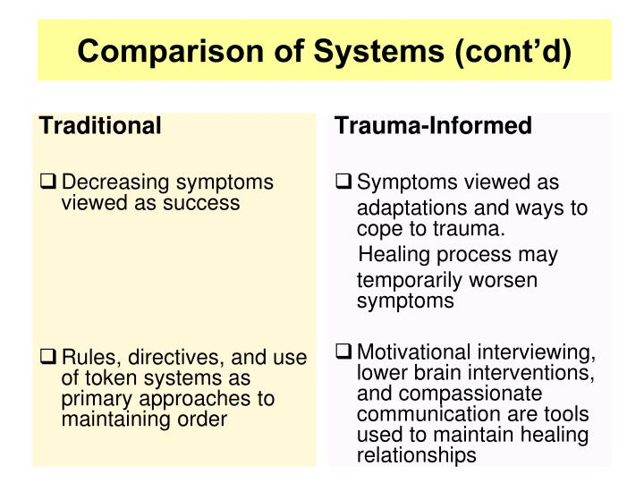 Comparison of Systems (cont'd)