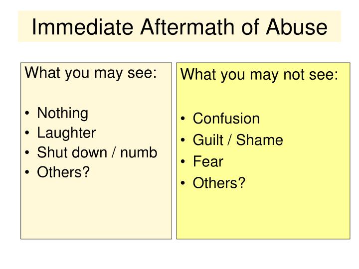 Immediate Aftermath of Abuse