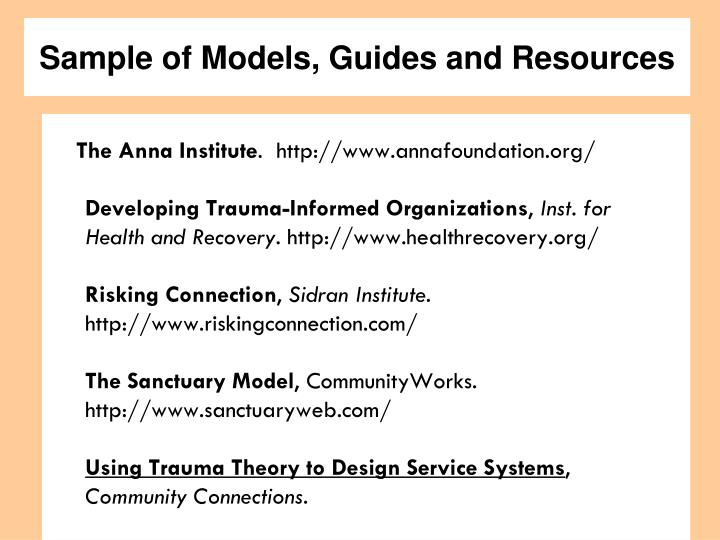 Sample of Models, Guides and Resources