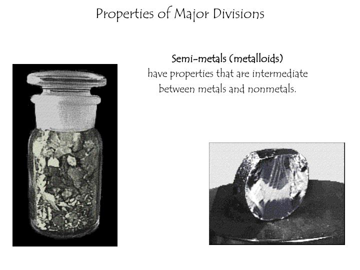 Properties of Major Divisions