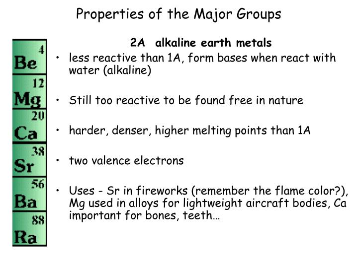 Properties of the Major Groups