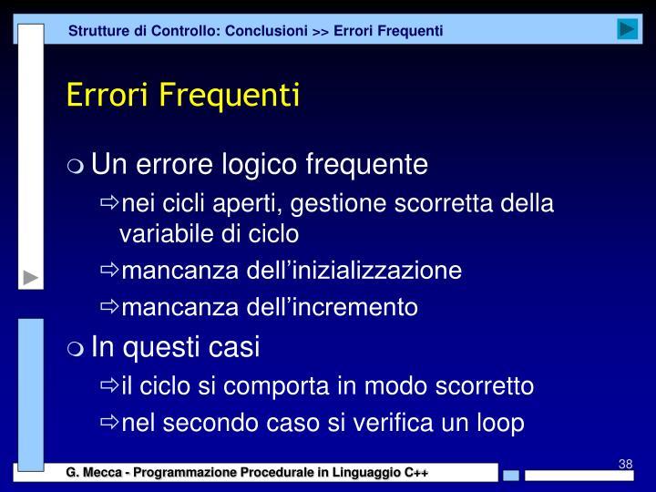 Strutture di Controllo: Conclusioni >> Errori Frequenti