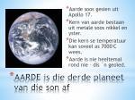 aarde is die derde planeet van die son af