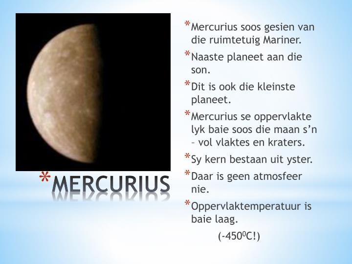 Mercurius soos gesien van die ruimtetuig