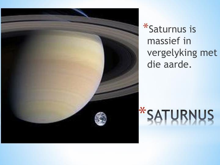 Saturnus is massief in vergelyking met die aarde