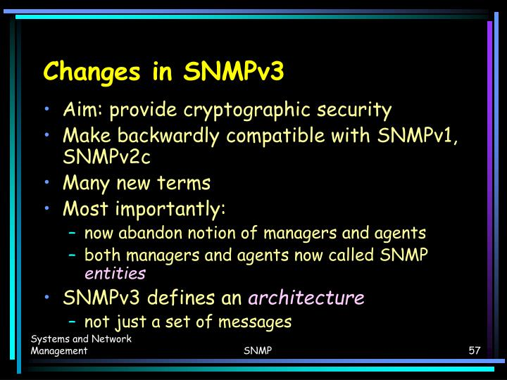 Changes in SNMPv3