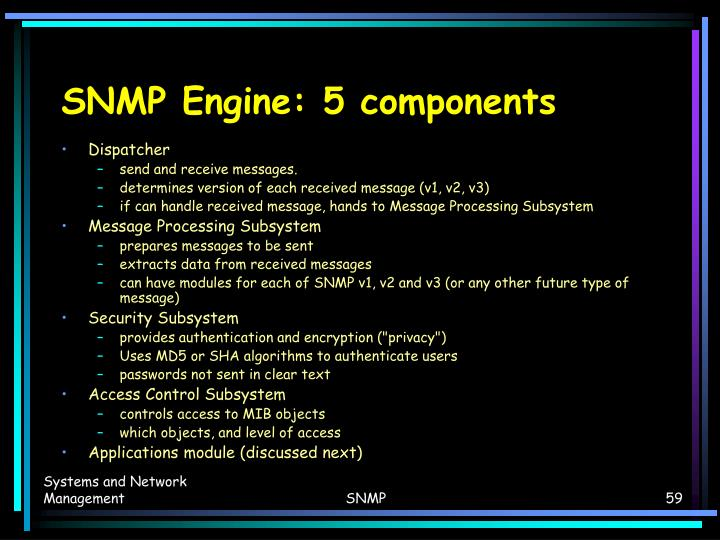 SNMP Engine: 5 components