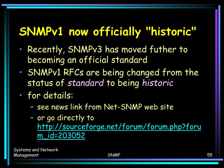 "SNMPv1 now officially ""historic"""