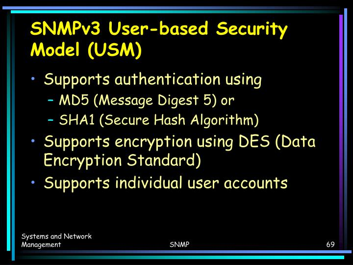 SNMPv3 User-based Security Model (USM)