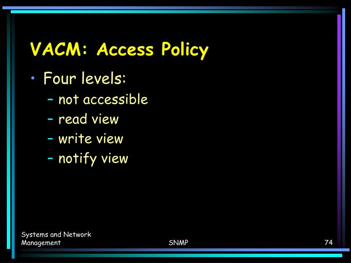 VACM: Access Policy