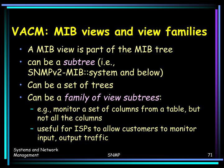 VACM: MIB views and view families