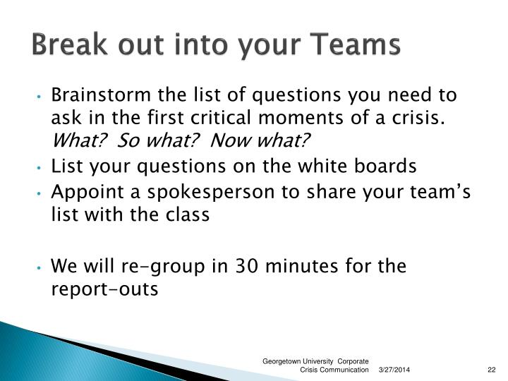 Break out into your Teams