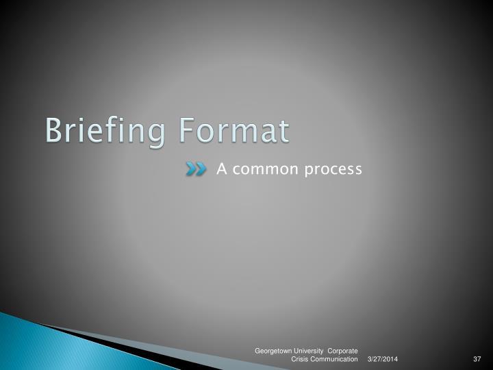 Briefing Format