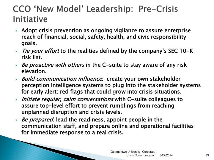 CCO 'New Model' Leadership:  Pre-Crisis Initiative
