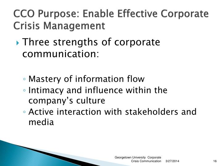 CCO Purpose: Enable Effective Corporate Crisis Management
