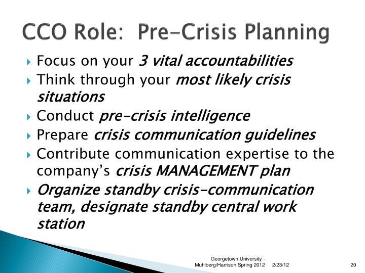 CCO Role:  Pre-Crisis Planning