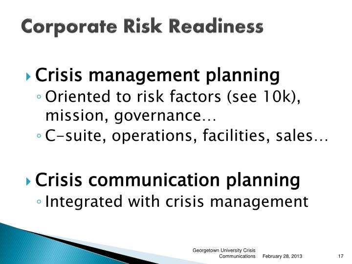 Corporate Risk Readiness