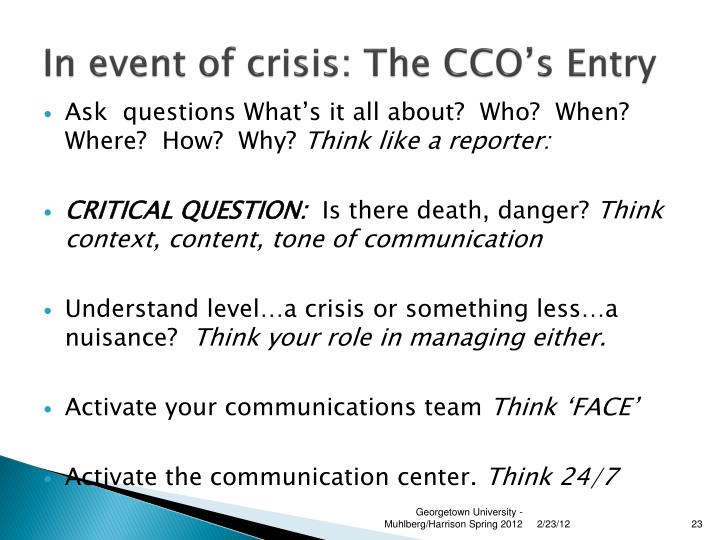 In event of crisis: The CCO's Entry