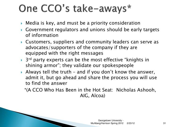 One CCO's take-aways*