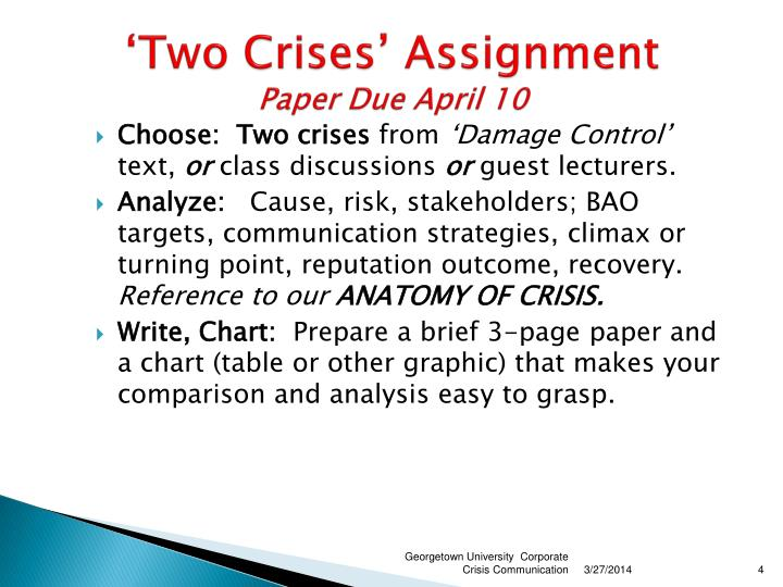'Two Crises' Assignment