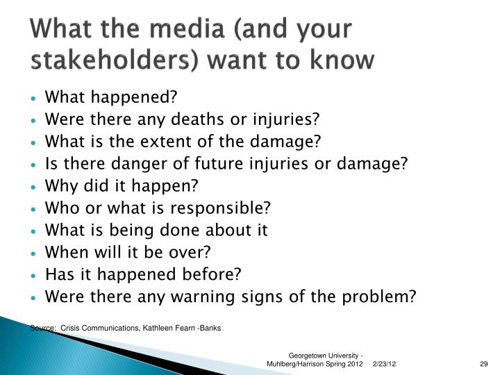 What the media (and your stakeholders) want to know