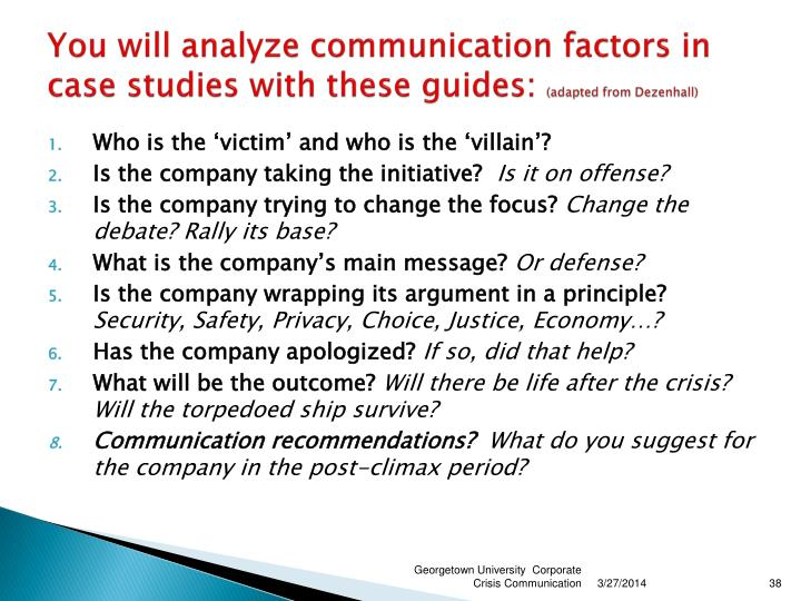 You will analyze communication factors in case studies with these guides: