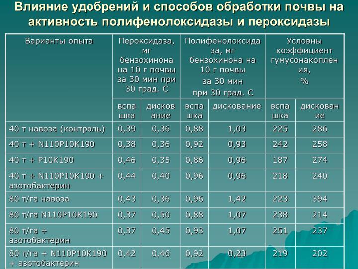 Влияние удобрений и способов обработки почвы на активность полифенолоксидазы и пероксидазы