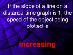 if the slope of a line on a distance time graph is 1 the speed of the object being plotted is