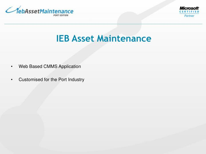 IEB Asset Maintenance