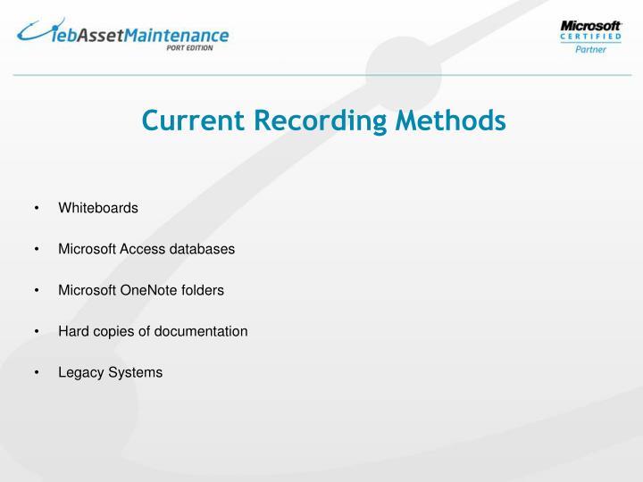 Current Recording Methods
