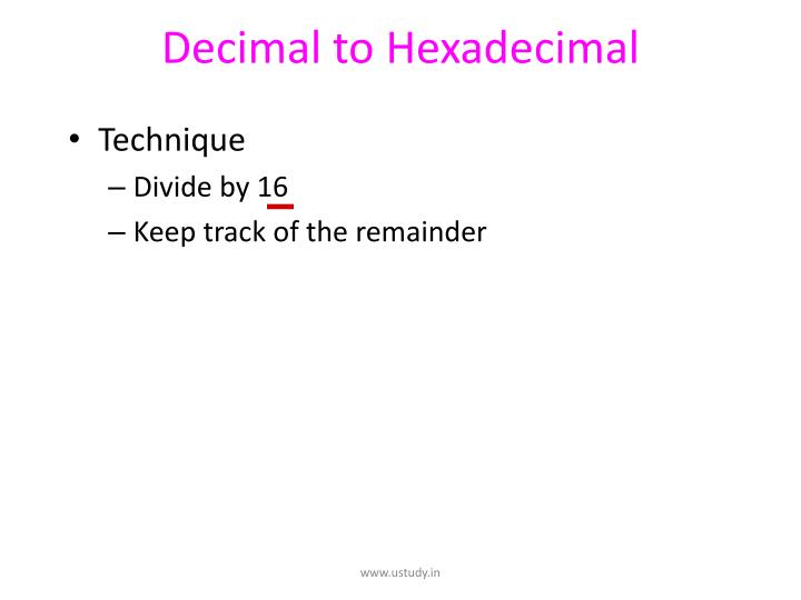Decimal to Hexadecimal
