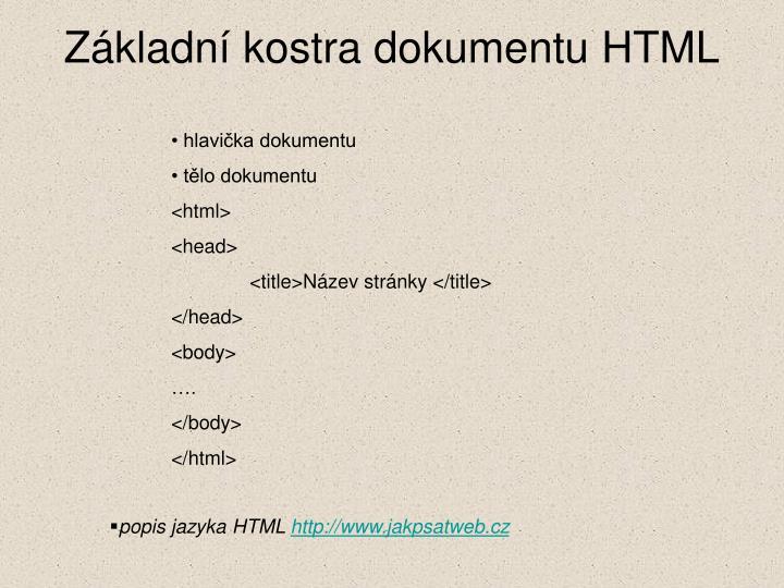 Základní kostra dokumentu HTML