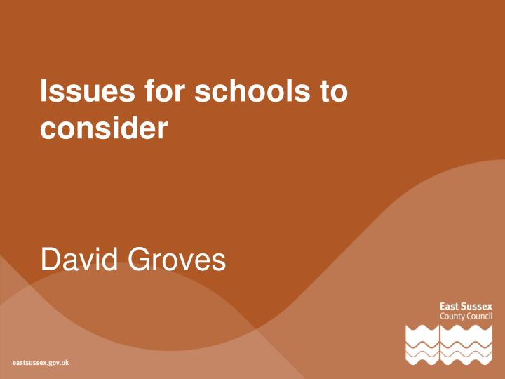 Issues for schools to consider