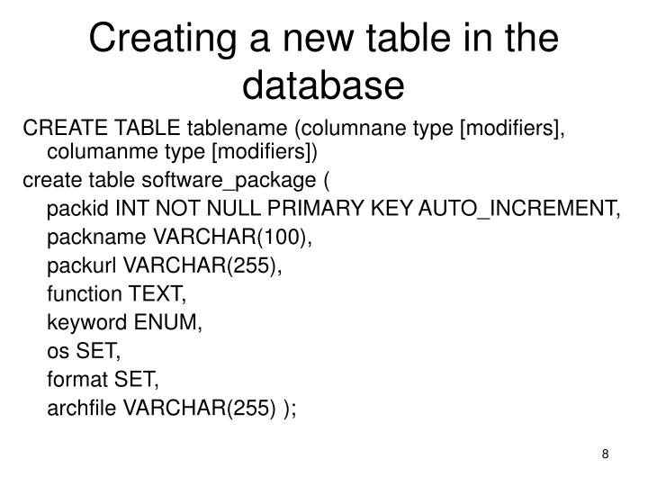 Creating a new table in the database