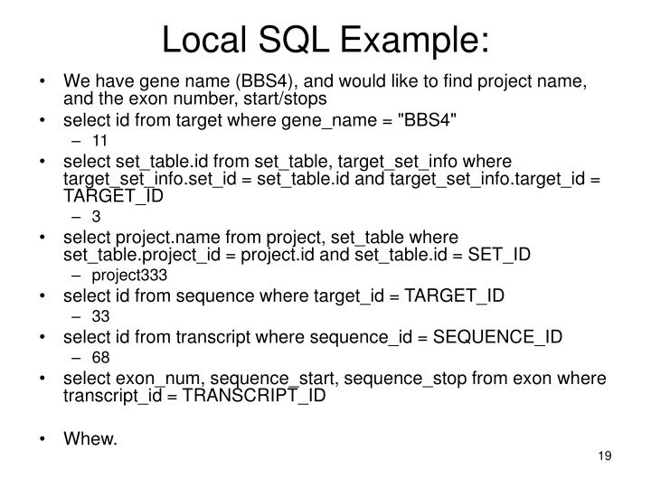 Local SQL Example: