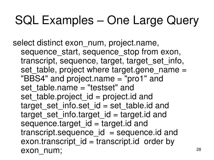 SQL Examples – One Large Query
