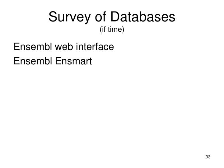Survey of Databases