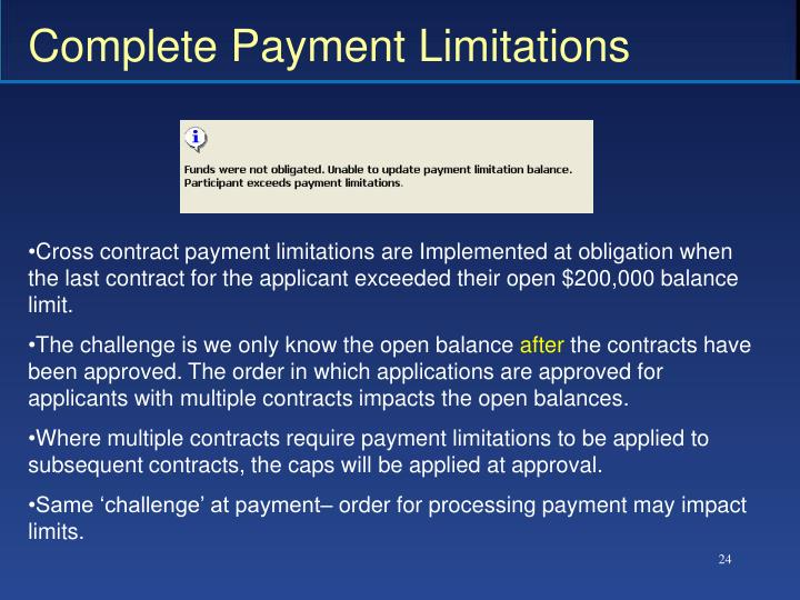 Complete Payment Limitations