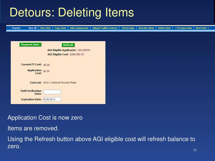 Detours: Deleting Items
