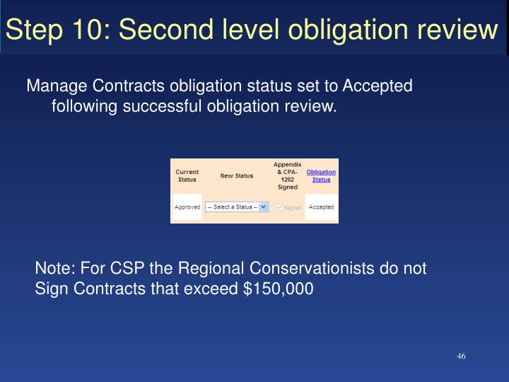 Step 10: Second level obligation review