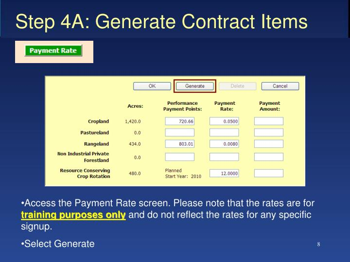Step 4A: Generate Contract Items