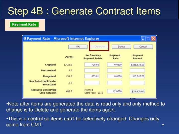 Step 4B : Generate Contract Items