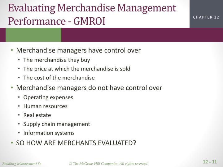 Evaluating Merchandise Management Performance - GMROI